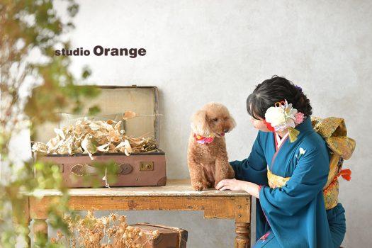 奈良店 フォトスタジオ 写真館 成人式 振袖 1人写し 犬と ペット撮影 振袖