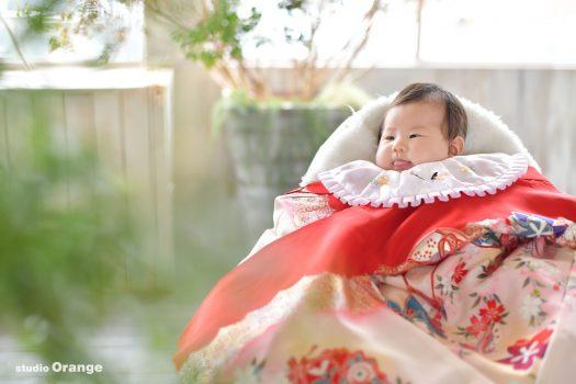 お宮参り 奈良市 2ヶ月女の子 赤い着物