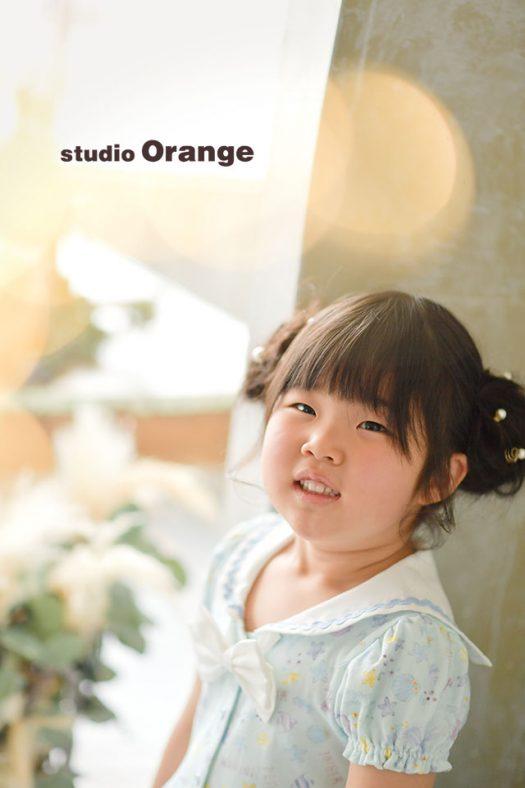 奈良市のフォトスタジオ、スタジオオレンジで撮影。お持ち込みの衣装とヘアセットで変身した姿。