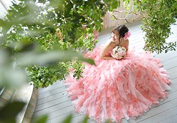 奈良市 成人式前撮り ドレス ピンクのドレス