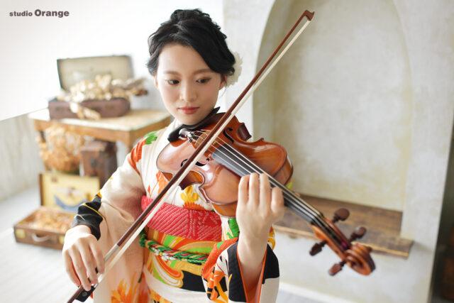 成人式 前撮り バイオリン 振袖 奈良市