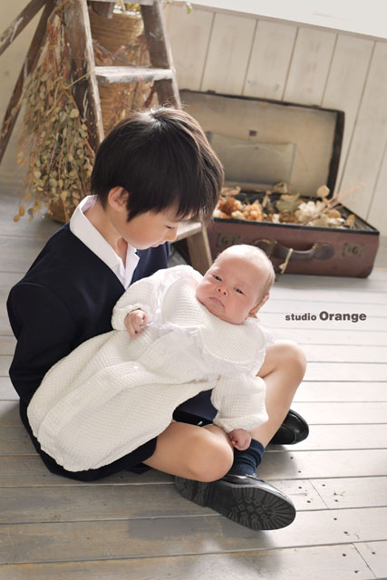 兄弟写真 お宮参り 奈良市 フォトスタジオ 写真館